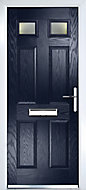 Crystal 6 panel Frosted Glazed Navy blue Composite LH External Front Door set, (H)2055mm (W)920mm