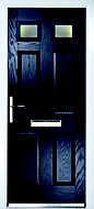 Crystal 6 panel Frosted Glazed Navy blue Composite RH External Front Door set, (H)2055mm (W)920mm