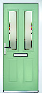 Crystal 4 panel Frosted Glazed Green Composite RH External Front Door set, (H)2055mm (W)920mm