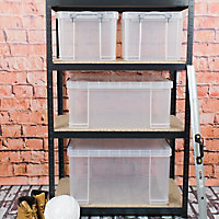 Really Useful Bonus Pack Heavy duty Clear 131L Plastic Small, medium & XL Stackable Storage box, Pack of 4