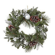 50cm Silver baubles, berries & pine cones Wreath