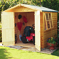Shire Alderney 7x7 Apex Shiplap Wooden Shed (Base included) - Assembly service included