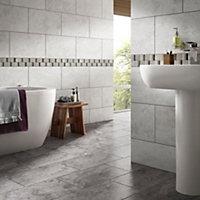 Black, grey & white Mosaic Marble Border tile, (L)305mm (W)48mm