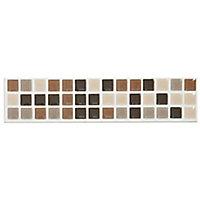 Mini mosaic Taupe Ceramic Border tile, (L)200mm (W)45mm