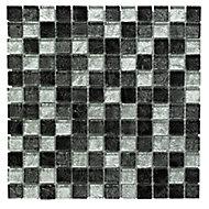 Black Glass Mosaic tile, (L)300mm (W)300mm