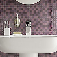 Purple Glass Mosaic tile, (L)300mm (W)300mm
