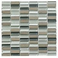 Linear Grey Glass & stone Mosaic tile, (L)300mm (W)300mm