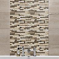 Stone & glass Emperador Gloss Wall tile, (L)300mm (W)308mm