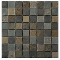 Quartzite slate Grey Stone Mosaic tile, (L)305mm (W)305mm