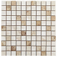 Illusion Natural Stone effect Ceramic Mosaic tile, (L)300mm (W)300mm