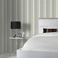 Colours Hechter Grey & white Striped Textured Wallpaper