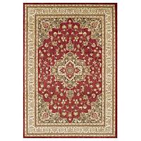 Colours Vaishali Cream & red Rug (L)2.3m (W)1.6m