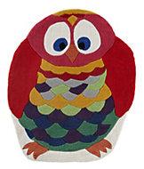Colours Kori Blue, gold & red Owl Rug (L)1m (W)0.8 m