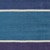 Colours Pregati Striped Blue Rug (L)2.3m (W)1.6m