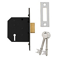 Diall 64mm Polished Chrome effect Metal 3 lever Deadlock
