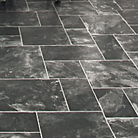 Colours Octavina Black Slate effect Vinyl flooring, 6m²