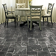 Colours Octavina Black Slate effect Vinyl flooring, 6m²