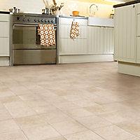 Colours Valiha Beige Tile effect Vinyl flooring, 6m²