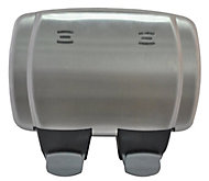 Diall 13A Grey Stainless steel effect Double Outdoor Switched Socket
