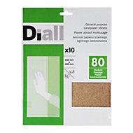 Diall 80 Grit Medium Sandpaper sheet, Pack of 10