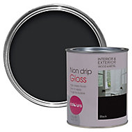 Colours Black Gloss Metal & wood paint, 0.75L