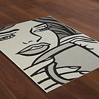 Colours Gayle Pop art Black & white Rug (L)1.7m (W)1.2m