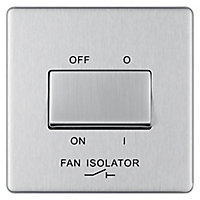 Colours 10A Brushed stainless steel effect Single Fan isolator Switch