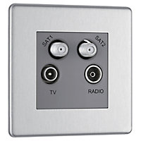Colours Stainless steel effect Coaxial & satellite socket