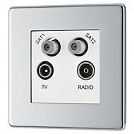 Colours Chrome effect Coaxial & satellite socket