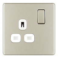 Colours 13A Polished Nickel effect Single Switched Socket