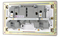 Colours 13A Nickel effect Double Switched Socket