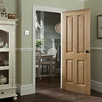 4 panel Oak veneer LH & RH Internal Fire Door, (H)1981mm (W)762mm