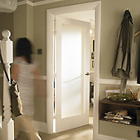 1 panel Frosted Glazed Shaker Primed White LH & RH Internal Door, (H)1981mm (W)838mm