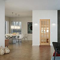 15 Lite Glazed Oak veneer LH & RH Internal Door, (H)2040mm (W)826mm