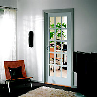 Fully glazed 15 Lite Primed White Smooth Internal Door, (H)1981mm (W)610mm