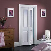4 Panel 2 Lite Primed White Smooth Glazed Internal Bi-fold Door, (H)1981mm (W)686mm