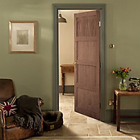 4 panel Shaker Walnut veneer LH & RH Internal Door, (H)1981mm (W)610mm