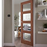 4 panel Glazed Shaker Walnut veneer LH & RH Internal Door, (H)1981mm (W)838mm