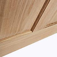 4 panel Etched Frosted Glazed Oak veneer LH & RH Internal Door, (H)2040mm (W)826mm
