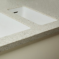 Triassic White Chipboard & solid resin Worktop sink & drainer (L)1500mm
