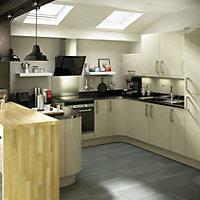 IT Kitchens Santini High gloss Grey Straight Cornice & pelmet, (L)2400mm