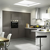 IT Kitchens Santini Gloss Anthracite Slab Clad on base panel (H)890mm (W)620mm