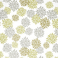 Valerian Corded Green, grey & white Patterned Roller blind (W)180cm (L)160cm