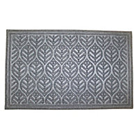 Colours Leaf Grey Jute & polyester Door mat (L)0.9m (W)0.6m