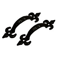 Blooma Black Antique effect Cast iron Gate Pull handle, Pack of 2