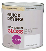 Colours Pure brilliant white Gloss Wood & metal paint 2.5L