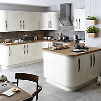 IT Kitchens Santini Gloss Cream Slab Pan drawer front & bi-fold door, (W)500mm
