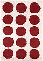 Colours Brady Dotty Cream & red Rug (L)2.3m (W)1.6m