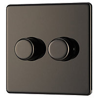 Colours 2 way Polished black nickel effect Double Toggle Switch