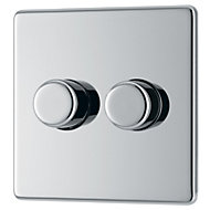 Colours 2 way Double Chrome effect Dimmer switch